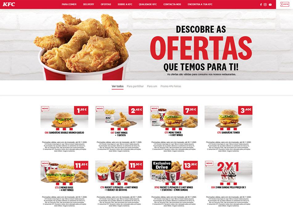 KFC website by MCBS